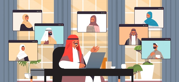 Arabic businessman chatting with arabian colleagues during video call business people having online conference meeting communication concept office interior horizontal portrait illustration