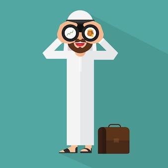 돈을 찾고 아랍어 사업가 프리미엄 벡터