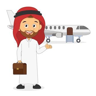 Арабский бизнесмен или менеджер отправляется в командировку