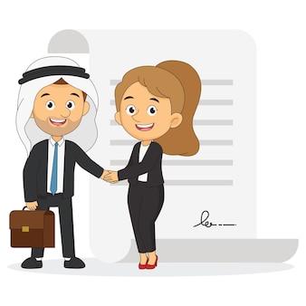 Арабский бизнесмен. два человека пожимают друг другу руки