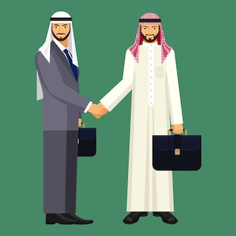 Арабские бизнесмены в сером офисном костюме и традиционной одежде с черными кожаными дипломатами, пожимая руки, изолировали векторную иллюстрацию.