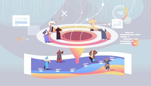 Арабские бизнесмены, клиенты или сотрудники, воронка продаж, конус, концепция интернет-маркетинга, горизонтальная полная длина, векторная иллюстрация