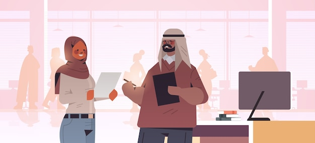 アラブのビジネスマンが会議中に話し合うアラブのビジネスマンが一緒に働く成功したチームワークコンセプトオフィスインテリアイラスト