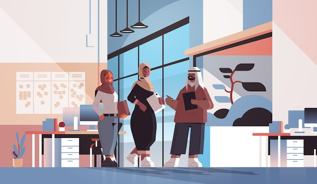 Arabic businesspeople discussing during meeting business communication concept arab colleagues standing together office interior  full length  illustration
