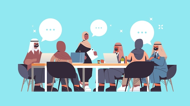 Группа арабских бизнесменов обсуждает во время конференции за круглым столом, чат, концепция коммуникации пузыря, горизонтальная полная длина, иллюстрация