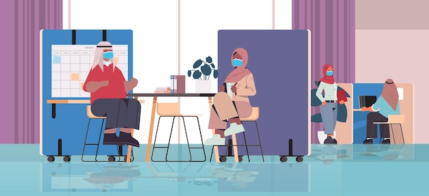 Arabic businesspeople in masks working together in creative coworking center coronavirus pandemic teamwork concept