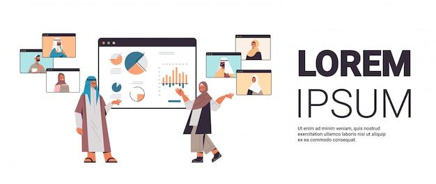 オンライン会議の水平全長コピースペースイラストを持っているビデオ通話ビジネス人々の間に同僚に財務グラフを提示するアラビア語のビジネスマン