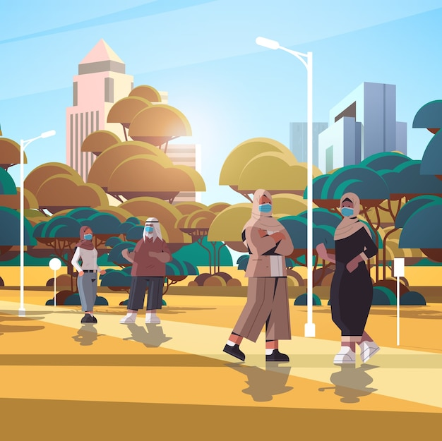Arabic businesspeople wearing protective masks to prevent coronavirus pandemic covid-19 quarantine concept arab business people walking outdoor cityscape background full length  illustration