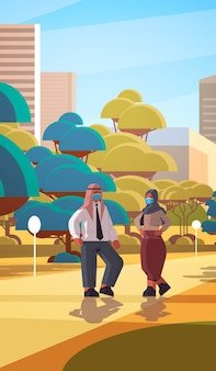 Arabic businesspeople wearing protective masks to prevent coronavirus pandemic covid-19 quarantine concept arab couple walking outdoor cityscape background full length vertical  illustration