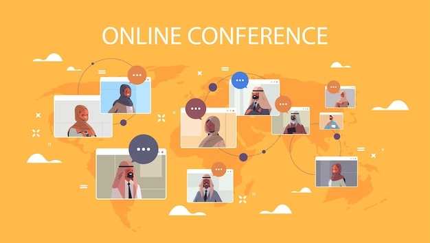 Arabic businesspeople in web browser windows discussing during corporate online international conference meeting world map background horizontal portrait  illustration
