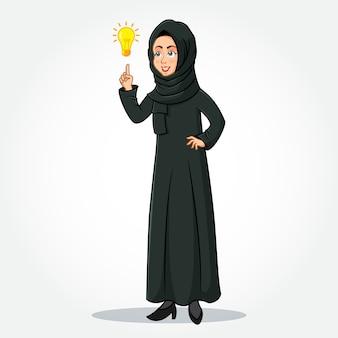Арабский бизнесмен мультипликационный персонаж в традиционной одежде, указывая на лампочку яркой идеи как символ наличия идеи