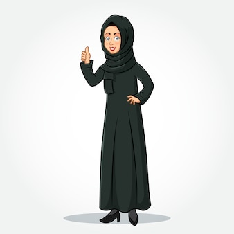 Arabic businesswoman cartoon character in traditional clothes giving thumbs up sign