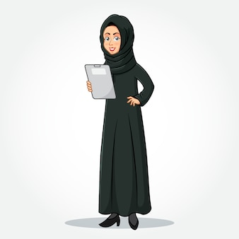 Arabic businesswoman cartoon character in traditional clothes holding a  clipboard