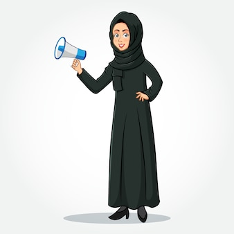 Arabic businesswoman cartoon character in traditional clothes holding a  megaphone