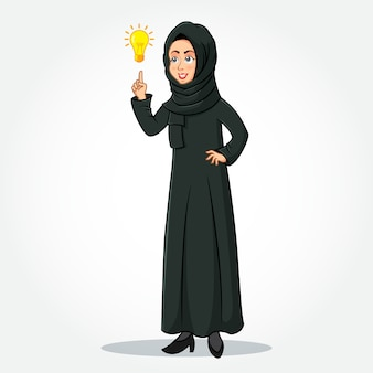 Arabic businesswoman cartoon character in traditional clothes pointing up to the bright idea bulb as a symbol of having an idea