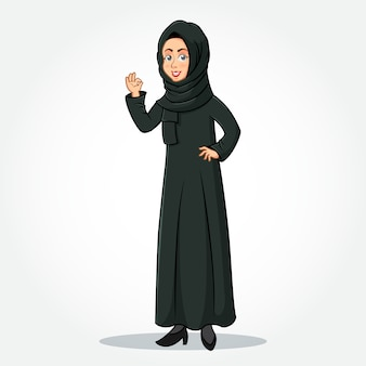 Arabic businesswoman cartoon character in traditional clothes showing okay/ok sign gesturing hand