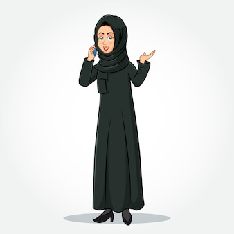 Arabic businesswoman cartoon character in traditional clothes speaking on smartphone and gesturing hand