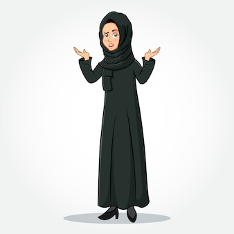 Arabic businesswoman cartoon character in traditional clothes with confused gesturing