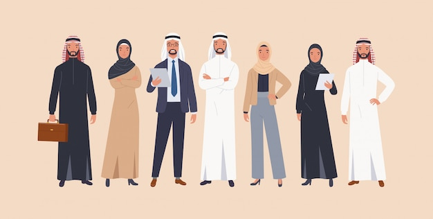 Arabic characters businessmen and businesswomen.
