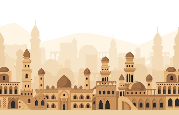 アラビアの都市の伝統的なモスクの建物のシルエットのパノラマビュー。イスラム建築風景ベクトルイラスト。伝統的なアラビアの泥レンガの街並み