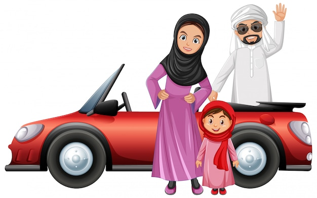 Arabic couple cartoon character