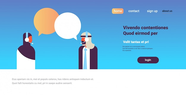 Arabic couple chat bubbles communication support speech dialogue call center concept