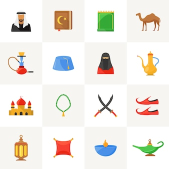 Arabic culture icons set