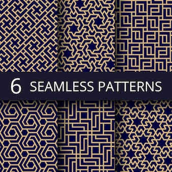 Arabic culture seamless  patterns, gold asian decoration repeat backgrounds