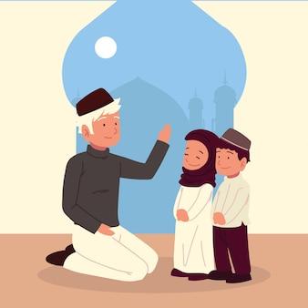 モスクのアラビアのお父さんと子供たち