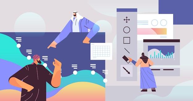 Группа арабских дизайнеров, создающая веб-сайт, пользовательский интерфейс, графический дизайн, пользовательский интерфейс, креативная концепция обслуживания, горизонтальная векторная иллюстрация