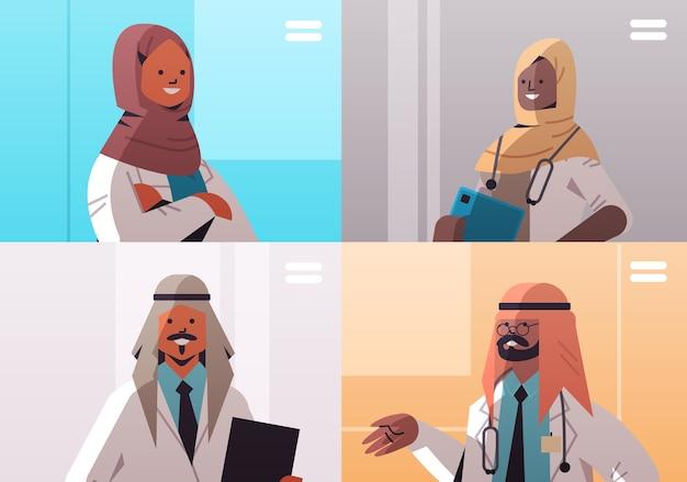 ビデオ会議中に議論しているウェブブラウザウィンドウのアラビア語医師グループ医学ヘルスケアオンラインコミュニケーションの概念水平肖像画ベクトル図