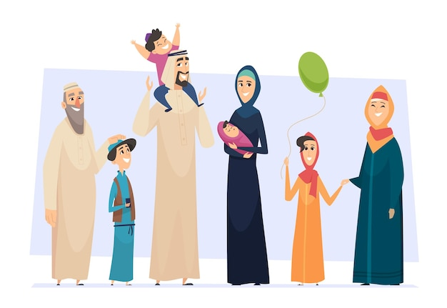 Arabic family. male and female muslim happy persons father mother kids and elders seniors