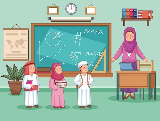 교실에서 아랍어 여성 교사