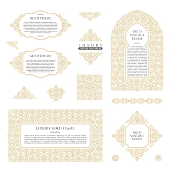アラビア語のフレームとアートデザインテンプレートゴールド要素とフレーム
