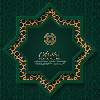 Arabic green and golden luxury background with arabic pattern and decorative ornament