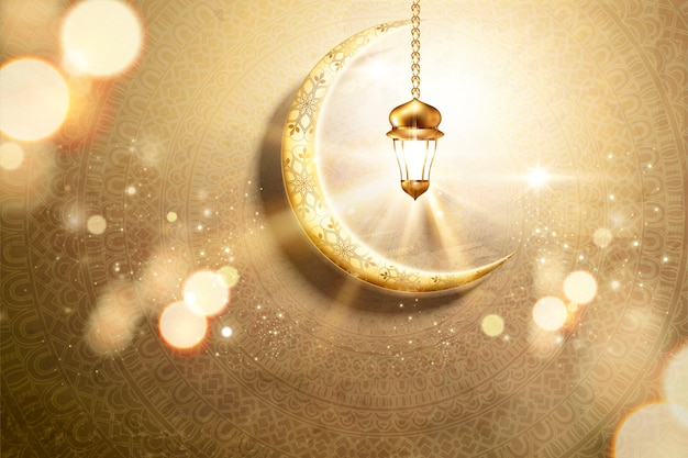 Arabic holiday design with golden crescent