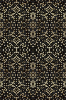 Arabic and indian seamless pattern with mandala, flower and lotus ornament in oriental motifs golden gradient on black background