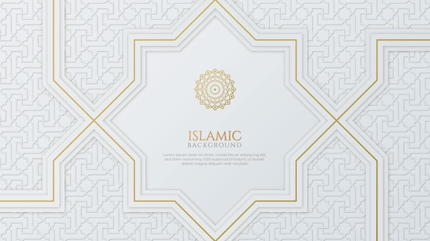 Arabic islamic elegant white and golden luxury ornamental background with islamic pattern and decorative ornament border frame