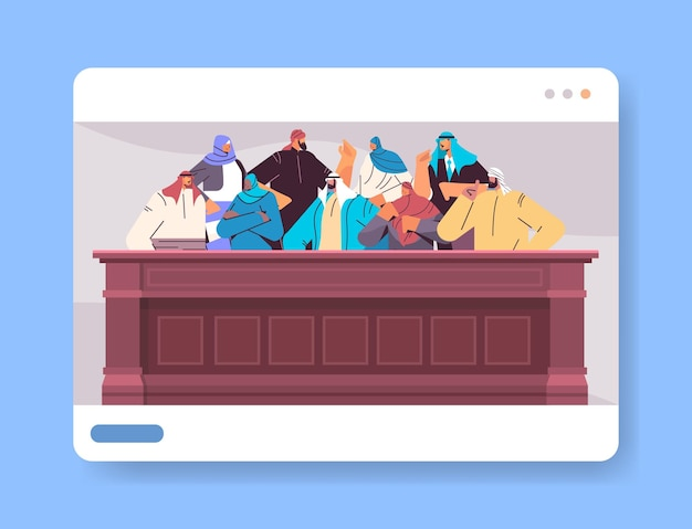 Arabic jurors sitting in jury box law court trial session online judging process concept courtroom interior portrait horizontal vector illustration