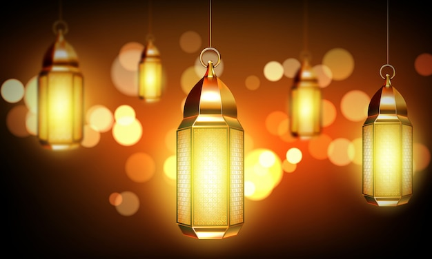 Arabic lamps, gold arab lanterns with ornament