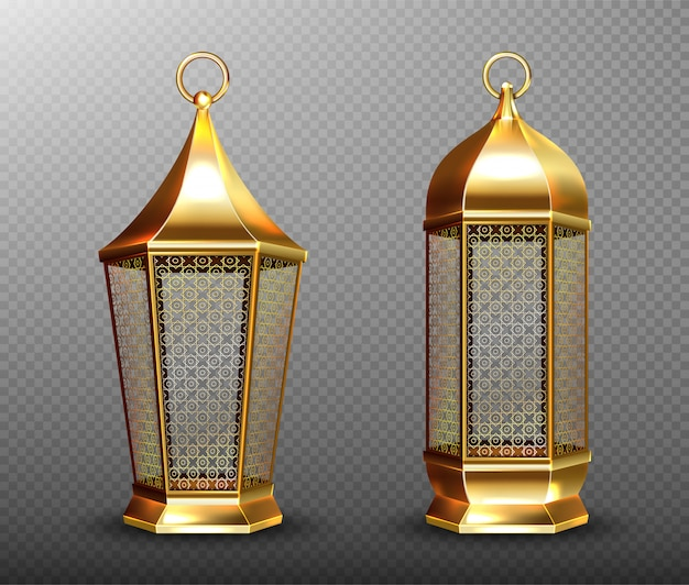 Arabic lamps, gold lanterns with arab ornament, ring, place for candle.