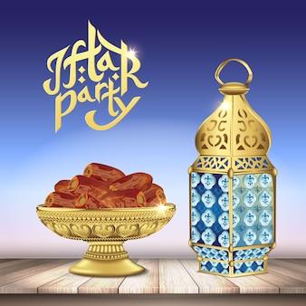 Арабский фонарь и классический шар дат на деревянном столе. рамадан ифтар вечеринка еда. реалистичная иллюстрация
