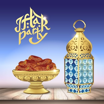 Arabic lantern and classic bowl of dates on wooden table. ramadan iftar party food. realistic   illustration