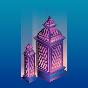 아이소 메트릭 그라디언트 스타일의 아랍어 등불