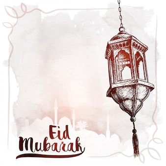 Arabic lantern sketch eid mubarak greeting