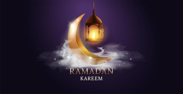 Арабский фонарь с горящей свечой и золотой луной. рамадан карим.
