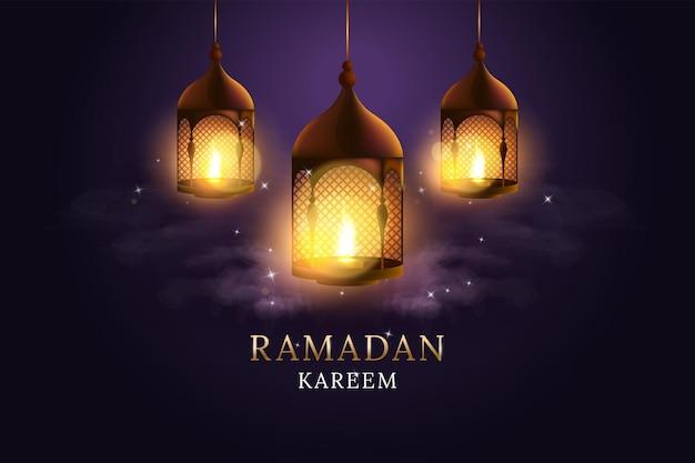 불타는 촛불 세트와 아랍어 랜 턴입니다. 라마단 카림.