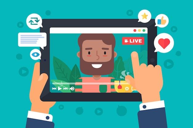 Арабский мужчина-блогер записывает онлайн-трансляцию