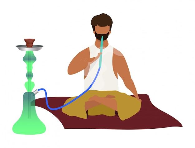 Arabic man sitting and smoking hookah flat color faceless character