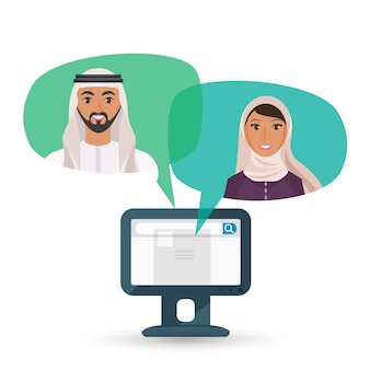 Arabic man and woman communicate by internet. chat clouds with portraits of male and female character and computer screen vector illustration.